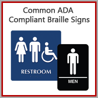 Next Day Common ADA Compliant Restroom Signs & Sets