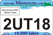 Minnesota State Plate with DMV Logo. ATV UTV Logo Plate have a Variety of colors, DNR approved, UV protected for $15.95.