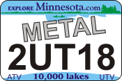 Minnesota Metal State Plates with DMV Logo. ATV UTV Metal Logo Plates, DNR approved, UV protected, Ships today! $17.95.
